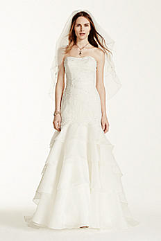 Extra Length Tiered Lace Trumpet Wedding Dress 4XLMS251003