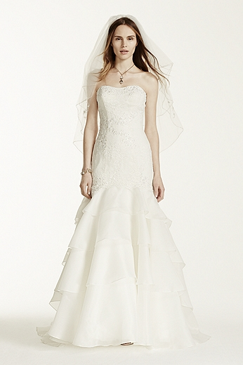 Strapless Trumpet Gown with Floral and Lace Detail MS251003