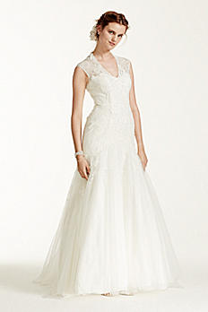 Melissa Sweet Corded Lace Cap Sleeve Wedding Dress 4XLMS251005