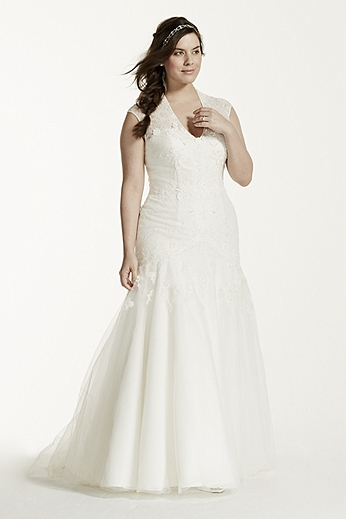 Cap Sleeve Trumpet Lace Gown MS251005W
