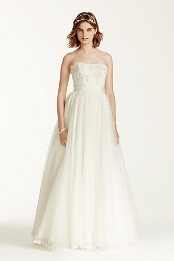 Strapless Organza Ball Gown with Floral Appliques MS251072