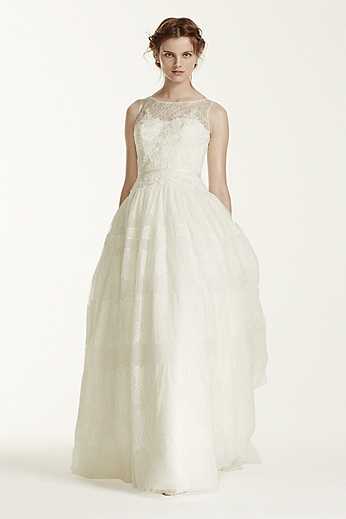 Sleeveless Ball Gown with Banded Tulle Overlay MS251073