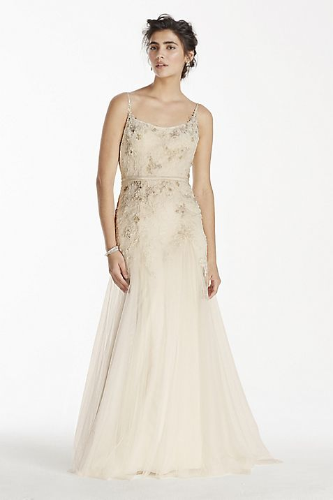 Melissa Sweet Net Wedding Dress with Straps   David\'s Bridal