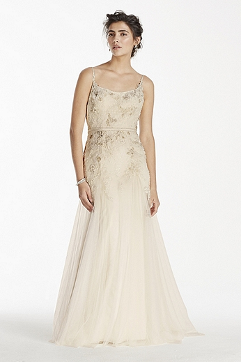 Net Trumpet Gown with Spaghetti Straps MS251111