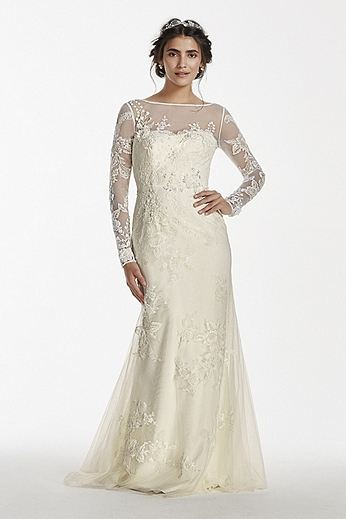 Long Sleeved Lace Sheath with Deep V Back MS251113
