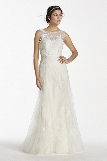 Illusion Tank Tulle Gown with Beaded Lace Applique MS251114