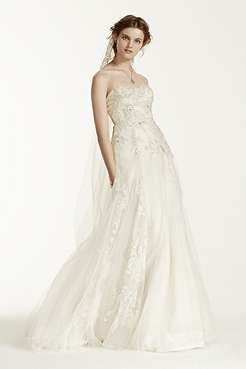 A-Line Tulle Wedding Dress with 3D Floral Lace MS251115