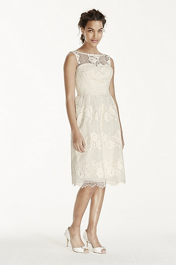 Illusion Tank Tea Length Lace Dress MS251118