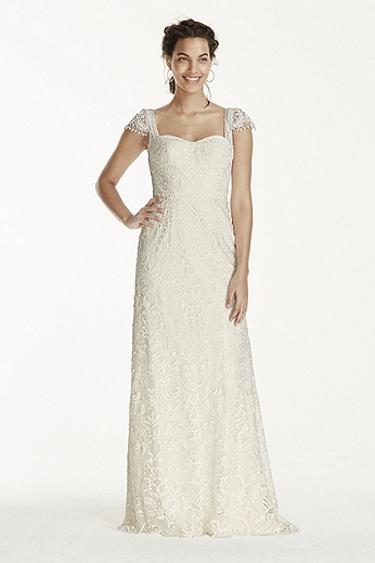 Lace Sheath with Beaded Cap Sleeves MS251122