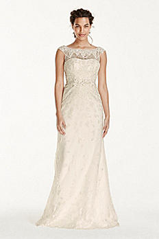 Melissa Sweet Illusion Sleeve Lace Wedding Dress MS251124