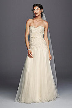 Melissa Sweet Strapless Tulle Sheath Wedding Dress MS251130