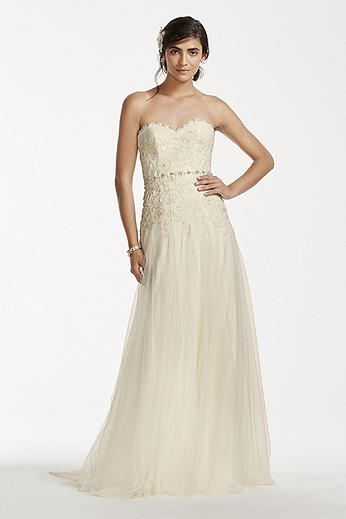 Strapless Sweetheart Tulle Sheath MS251130