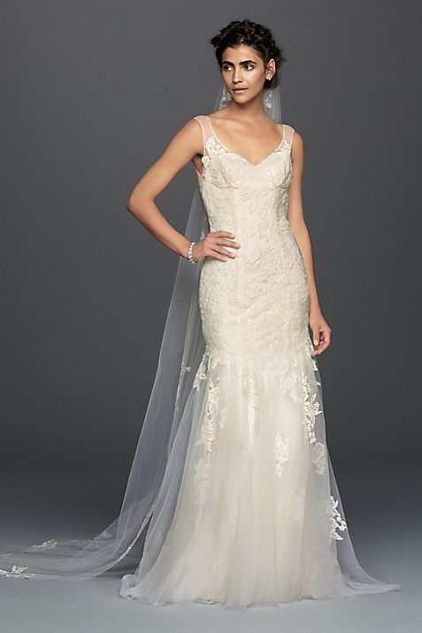 As-Is Illusion Lace Mermaid Wedding Dress | David\'s Bridal