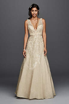 Gold Wedding Dresses & Gowns: Short & Long | David\'s Bridal