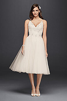 Melissa Sweet Short Tulle V-Neck Wedding Dress MS251160