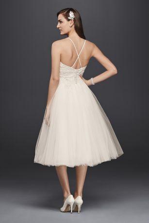 Melissa sweet short tulle v neck wedding dress david 39 s for Melissa sweet short wedding dress