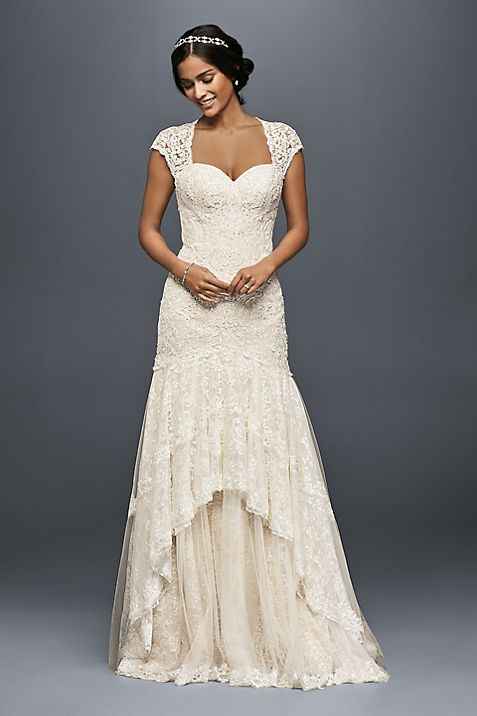 Tiered Lace Mermaid Wedding Dress with Beading