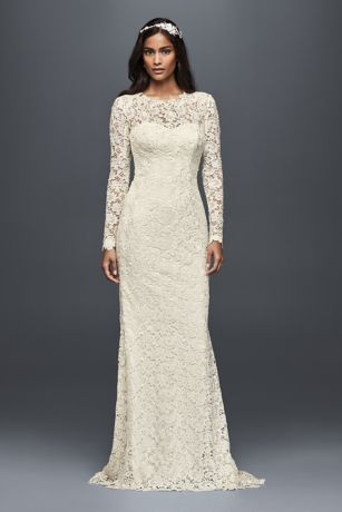 Long sleeve lace wedding dress with open back davids bridal long sheath vintage wedding dress melissa sweet junglespirit