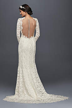 Long Sheath Vintage Wedding Dress   Melissa SweetSexy Backless Wedding Dresses   David s Bridal. Long Sleeve Backless Wedding Dresses. Home Design Ideas