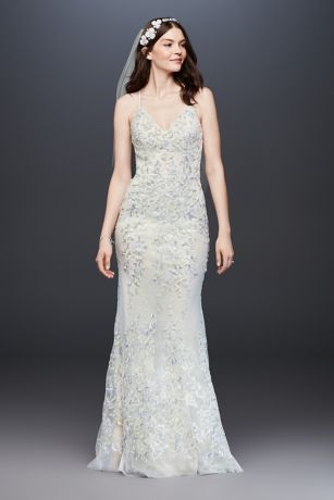 Embroidered And Beaded Lace Sheath Wedding Dress David S