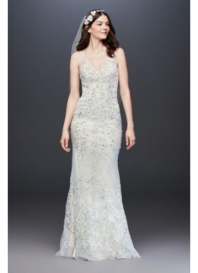 Embroidered and beaded lace sheath wedding dress davids bridal long sheath beach wedding dress melissa sweet junglespirit Images