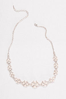 Blush Pearl and Rhinestone Cluster Necklace N15081808