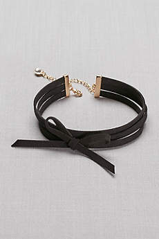 Bow-Tied Faux-Suede Choker