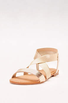 Bamboo Yellow Sandals (Metallic Sandals with Crossed Elastic Straps)