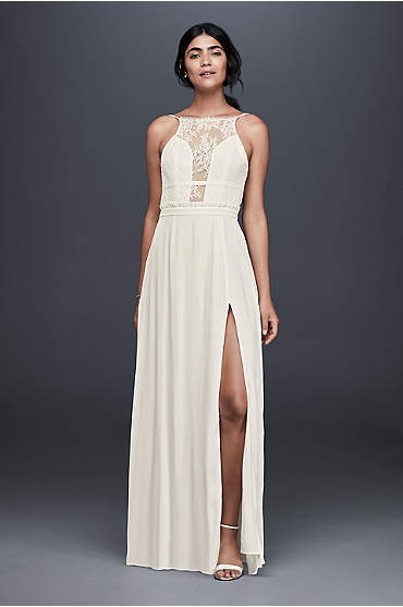 Ivory long dress with illusion lace plunge neckline