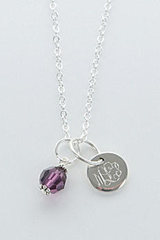 Personalized Sterling Silver Birthstone Necklace NC61S