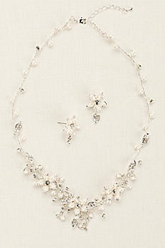 Crystal and Pearl Floral Necklace and Earring Set. NCT258SILVER