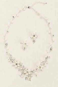 Crystal and Pearl Floral Necklace and Earring Set.