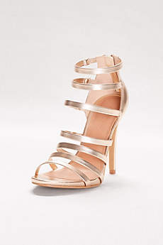 Anne Michelle Yellow Peep Toe Shoes (Strappy Metallic Heels)