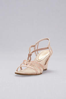 New York Transit Beige Sandals (Crystal-Studded Cutout Wedges with Knotted Vamp)