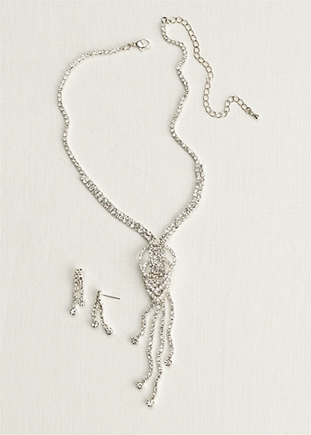 Crystal Knot Necklace and Earring Set NK2429