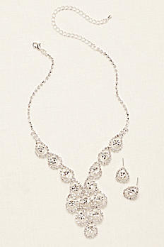 Tear Drop Pave Necklace and Earring Set NK3068