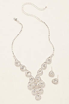 Tear Drop Pave Necklace and Earring Set