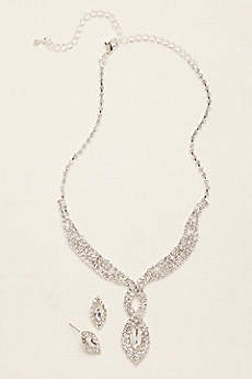 Woven Pave Crystal Necklace and Earring Set