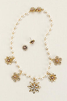 Multi Stone Floral Necklace and Earring Set NMS671541