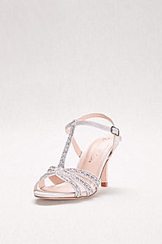 T-Strap Heels with Baguette Crystals NONO14