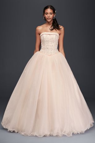Tulle Wedding Dress with Corseted Satin Bodice Davids Bridal