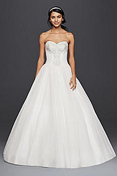 Strapless Tulle Ball Gown with Beaded Lace Bodice NTWG3804