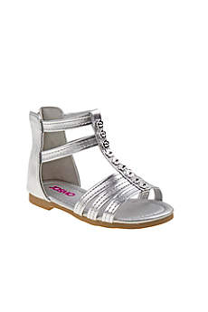 Josmo Grey Flowergirl Shoes (Toddlers Gladiator Sandals with Flowers)