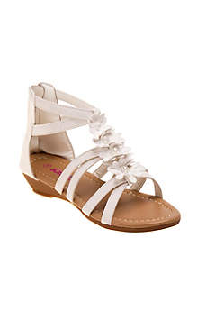 Josmo White Flowergirl Shoes (Girls Strappy Floral Gladiator Sandals)