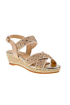Beige Flowergirl Shoes (Girls Sparkly Crystal Rope Wedges)