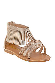 Laura Ashley Yellow Flowergirl Shoes (Toddlers Fringed Gladiator Sandals)