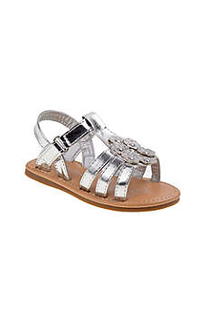 Rugged Bear Grey Flowergirl Shoes (Toddlers Metallic Sandals with Crystals)