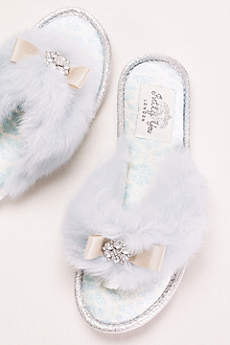 Pretty You London Blue Slippers (Faux Fur and Crystal Adorned Slipper)