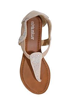 Olivia Miller Brown Sandals (Crystal Embellished Slip On Sandal)