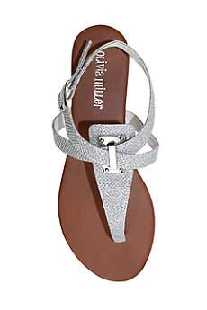 Olivia Miller Grey Sandals (Glitter Sandal with Adjustable Buckle)